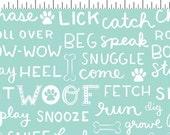 DOG LOVERS by Clothworks Fabrics - Aqua Dog Words # Y1998-34 - Dog Quilt Fabric - By the Yard - Puppy fabric - aqua and grey