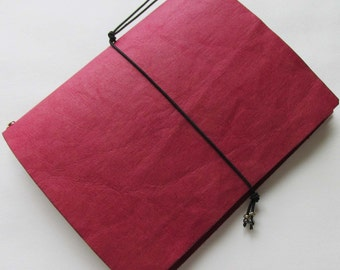 Junk journal mini collage paper notebook mini travellers notebook style fauxdori red