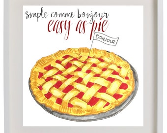 Art Print Pie & Bonjour French and English