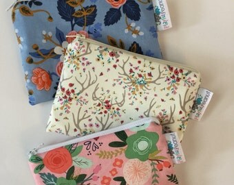 Reusable Machine Washable Zippered BPA-Free Snack-Loc Large Sandwich Small Snack Bag - Rifle Paper Co Riley Blake Floral Antlers