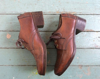 70s Leather Platforms / Oxfords- 1970s Chunky Shoes- Brown- Disco- Size 9