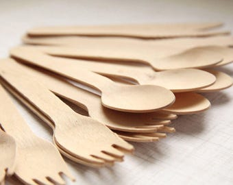 Party Set (300) Eco-Friendly Wooden Utensils SPOONS, FORKS, KNIVES  (100 each)  - Handmade Wedding // Birthday // Holiday // Craft Party