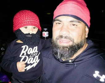 Father Son Matching Outfit Hats Bearded Hats, Father Baby Matching, Father Baby Boy Matching, Silly Father's Day Gift, Baby Boy Beard