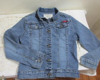 Vintage Jean Jacket Youth Size 14 Guess Stretch Denim