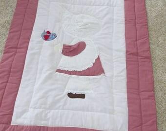 Baby Blanket Crib Quilt Sunbonnet Sue Pink White Eyelet