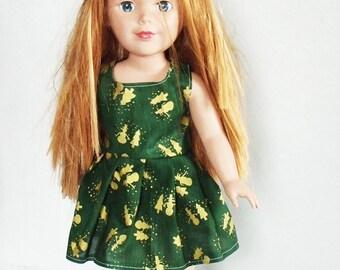 "18"" Doll Dress, 18 inch doll's Christmas dress, green & gold doll dress, 18 inch fashion doll holiday dress, snowman doll dress"
