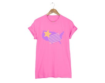 Geo Memphis America Tee - Boyfriend Fit Crew Neck Cotton Tshirt with Rolled Cuffs in Very Pink and Multi Color - Women's Size S-5XL