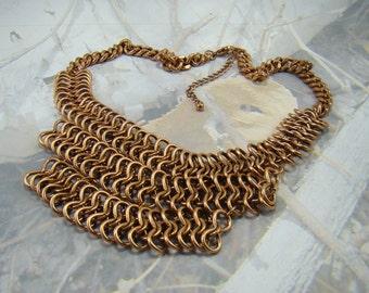 Vintage Copper Chain Mail Necklace Wonderful Heavy Piece Great Design Vintage Beauty PLUS a Bonus :)