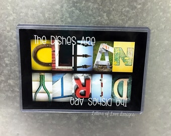 Clean Dirty Dishwasher Magnet, Clean Dirty Dishwasher Sign, Dishwasher Clean Dirty Signs, Clean Dishes, Dirty Dishes Magnet Sign, Mom Gift