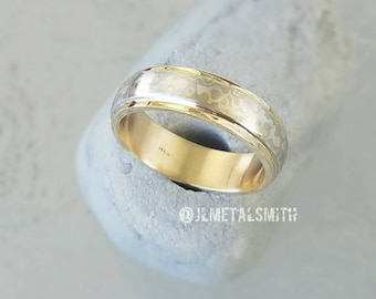 6mm Mokume Gane Ring in Palladium and Sterling Silver  with 14K Yellow Gold Sleeve