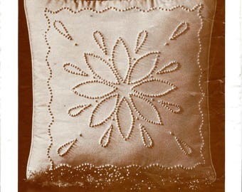 """Vintage Cathy Needlecraft Candlewicking Kit 7604 CW Snowflake. Candlewick Pillow Kit. 16""""x16"""" Embroidered Pillow Kit. Early American Design."""