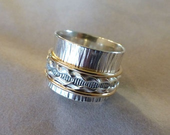 Sterling Spinner Ring, Wide Band Ring, Meditation Ring, Hammered Silver and 14K Gold Filled Spinner Ring, Size 9-1/4, Artisan Wedding Band