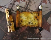 Caribbean Pirate's Map and Scrolls set  dollhouse miniature in 1/12 scale