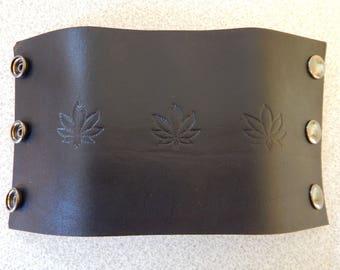 Hemp design leather cuff, wristband, leather band