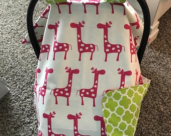 Baby Car Seat Cover / Giselle Giraffe in Pink with Lime Quatrefoil / Bows Incl / Baby Gift / Baby Girl / Ready To Ship