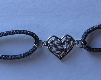 Black Silversilk Bracelet with filigree antique silver plated heart charm