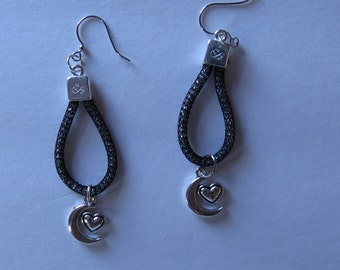 Shimmery Moon and Heart Earrings Pierced