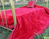 """Vintage crushed Velvet red Bedspread 90x104"""" Fringe Hollywood Regency Full size"""