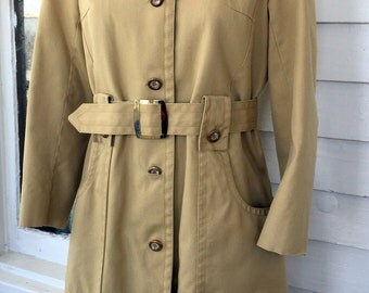 London Fog Womens Trench Coat Plaid Red Tarten Wool Lining Belted Size M