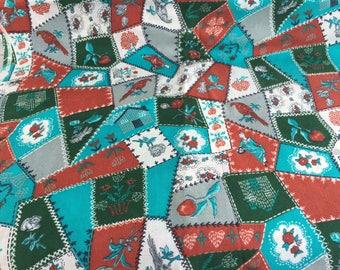 "Vintage Asian Style Fabric Geisha Girl Birds Flowers 2 yards x 44"" Rayon blend?"