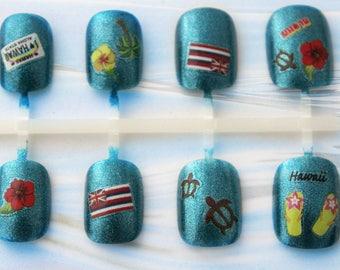 Aloha State Hawaii Nail Art | Short Fake Nails | Hawaii Nails | Vacation Holiday Nails | Summer Press On Nails | Glue On Acrylic Nails