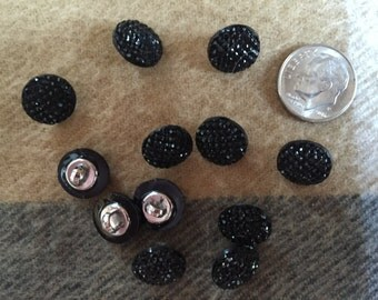 "Buttons 12 Black Faceted Shank Buttons 1/2"" Round Butrtons Reclaimed Free US Mail"