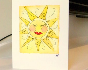 "Miss Sunshine Watercolor Original 4"" x 6"" Card and Envelope Inside Of Card is Blank betrueoriginals"