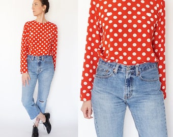 red and white POLKA DOT blouse S-M