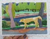 SALE Dog by the pond (days of serendipity)- Original watercolor small painting