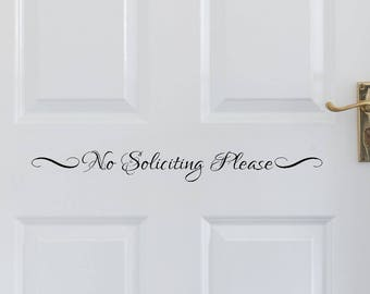 No Soliciting Please Vinyl Decal, Front Door Decal, No Soliciting Sticker, Sticker, Vinyl Sticker, Door Decal