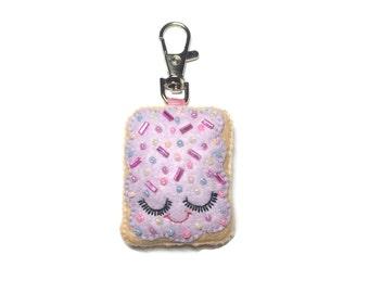 Pop Tart Keychain - Cute Bag Charm - Cute Keyring  - Toaster Pastry Charm - Kawaii Plush -  Bag Charm - Cute Keychains