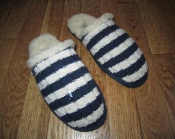 Ugg Sweater Scuff Slippers 7 Blue Stripe