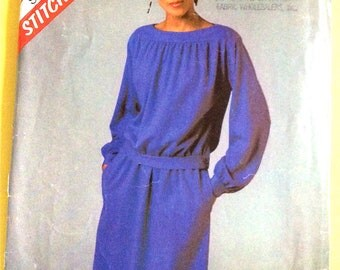 Uncut Dress Stitch n Save 8805  Pullover  Vintage Sewing Pattern  1970s or Early 80s   Size 12 14 16 Bust 32 34 36