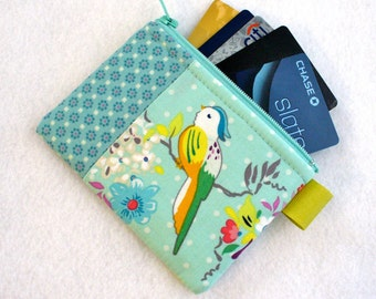 Gigi Blooms Tweets Bird Branch Fabric Business Card Case Coin Purse Zipper Credit Card Case Card Holder Wallet Colorful Bird Aqua Mint