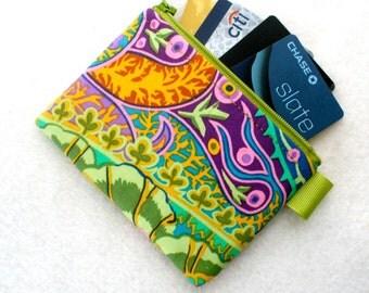Kaffe Fassett Jungle Paisley Fabric Zipper Credit Card Case Womens Card Holder Coin Purse Wallet Business Card Case Green Purple Orange MTO
