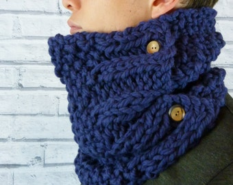 READY TO SHIP Men's Hand knitted Cowl, neckwarmer 100% merino wool - Navy Blue