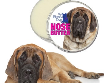 MASTIFF NOSE BUTTER® All Natural Handcrafted Balm for Dry Crusty Dog Noses Choices: 1 oz, 2 oz or 4 oz Tin with English Mastiff Label