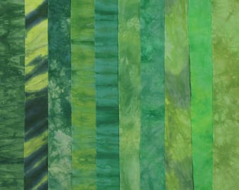 Hand Dyed Fabric - SPRING GREENS Stash Pack - 10 Fat Eights