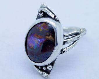 Purple Boulder Opal abundant leaf ring, opal ring, boulder opal jewelry, purple opal, vine ring, twig ring, opal engagement, branch band