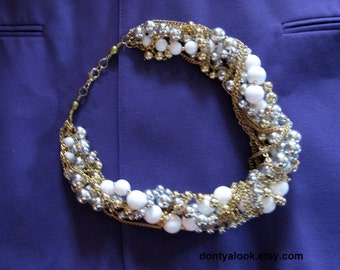 Silver Gold White Bead and Chain Thick Chunky Statement Necklace #26