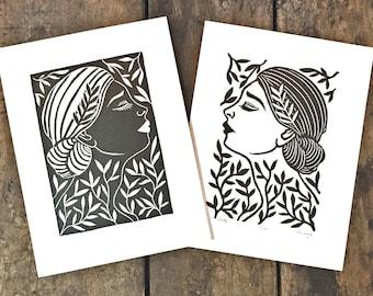 Odette & Odile   White Swan/Black Swan   Set of 2 Relief Prints on Paper