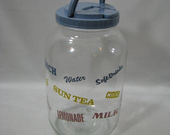 Vintage Glass Sun Tea Jar with Flip Lid & Handle 1 Gallon