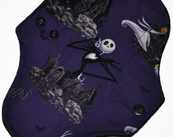 Light Core- Nightmare Before Christmas Reusable Cloth Pantyliner Pad- WindPro Fleece- 8.5 Inches