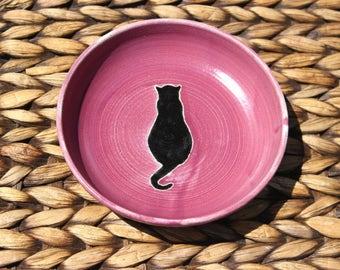 Ceramic CAT Food Bowl - Cat Water Bowl - Handmade Plum Stoneware Bowl - Black Cat Silhouette - Ready To Ship