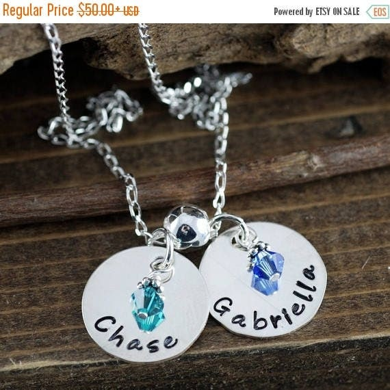 15% OFF SALE Personalized Name Necklace - Mothers Necklaces -  Hand Stamped Mommy Necklace - Birthstone Necklace - Personalized Name Necklac