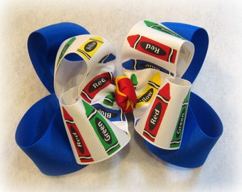 Crayon hair Bow, School Hairbow, BTS Bows, Crayons hairbow, Primary Color Bows, Blue hairbow, Girls Bows, Student Hair Bow, Coloring Bows