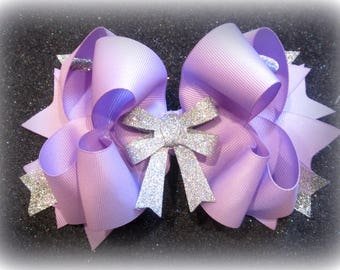 Lt Lavender hair bow, boutique hairbows, girls bows, glitter hair bow, big bows, pageant bows, party hairbow, stacked bow, purple hairbow