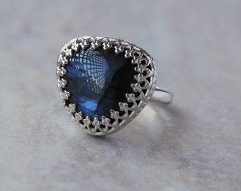Labradorite Ring, Labradorite, Blue Labradorite Ring, Sterling Silver Ring, Silver Labradorite Ring, Emma's Jewels