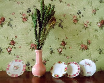 1/12 Scale Downloadable Printable Dollhouse Vintage Style Olive Flowery Wallpaper