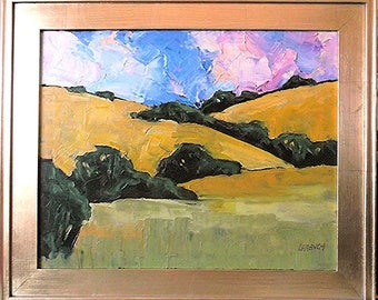 Impressionist Painting Plein Air California Landscape PASO ROBLES Oak Tree Hills Lynne French 16x20